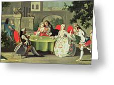 An Ornamental Garden With Elegant Figures Seated Around A Card Table Greeting Card