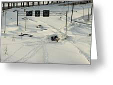 An Overhead View Of Buried Cars On An Greeting Card by Ira Block
