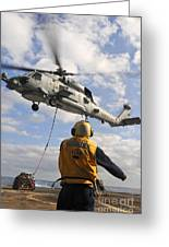 An Sh-60b Sea Hawk Helicopter Releases Greeting Card