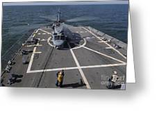 An Sh-60b Sea Hawk Lands On The Flight Greeting Card