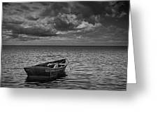 Anchored Row Boat Looking Out To Sea Greeting Card