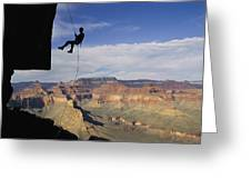 Andy Marquardt Rappels Down A Cliff Greeting Card