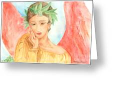 Angel In Thought Greeting Card by Delores Swanson