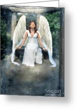 Angel On Stone Bench Looking Up Into The Light Greeting Card