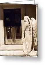Angel Outside Cemetery Mausoleum Door Greeting Card