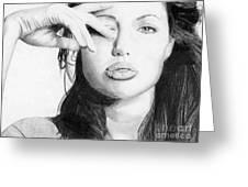 Angelina Jolie Pencil Art Greeting Card
