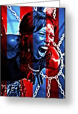 Anger In Red And Blue Greeting Card