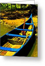 Angled Intensive Canoe On Sandy Bank Greeting Card