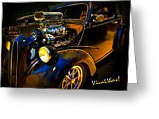 Anglia Dragster And A Duce Staged For A Grudge Run  Greeting Card