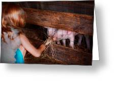 Animal - Pig - Feeding Piglets  Greeting Card