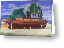 Antiquated Hudson River Tug Greeting Card by Glen Heberling