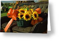 Antique Buggy And Sunflowers Greeting Card