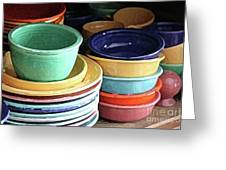 Antique Fiesta Dishes I Greeting Card by Marilyn West