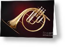 Antique French Horn On Deep Red Greeting Card