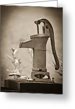 Antique Hand Water Pump Greeting Card