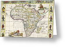 Antique Map Of Africa Greeting Card