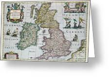 Antique Map Of Britain Greeting Card by English School