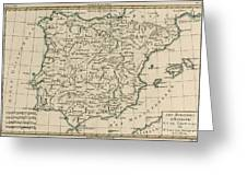 Antique Map Of Spain Greeting Card