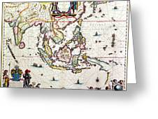 Antique Map Showing Southeast Asia And The East Indies Greeting Card by Willem Blaeu