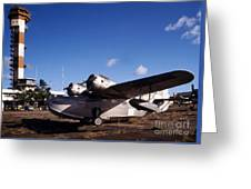 Antique Navy Seaplane Parked In Front Greeting Card by Michael Wood