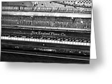 Antique Piano Black And White Greeting Card
