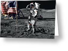 Apollo 17 Astronaut Salutes The United Greeting Card