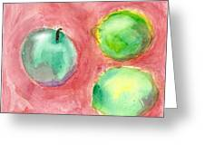 Apple And Two Lemons Greeting Card