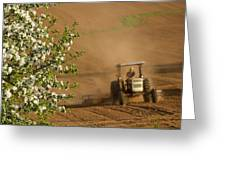 Apple Blossoms And Farmer On Tractor Greeting Card