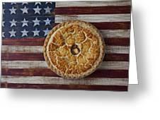 Apple Pie On Folk Art  American Flag Greeting Card