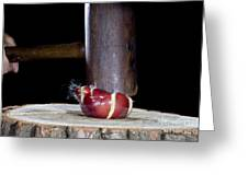 Apple Smashed With Mallet Greeting Card