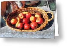 Apples And Bananas In Basket Greeting Card