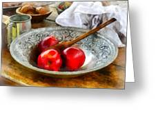 Apples In A Silver Bowl Greeting Card by Susan Savad