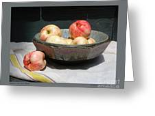 Apples In An Aerni Bowl Greeting Card by Patricia Overmoyer