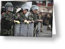 Argentine Marines Dressed In Riot Gear Greeting Card by Stocktrek Images