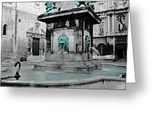Arles Fountain With A Spot Of Color Greeting Card