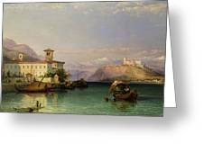 Arona And The Castle Of Angera Lake Maggiore Greeting Card