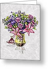 Arrangement In Pink And Purple On Rice Paper Greeting Card