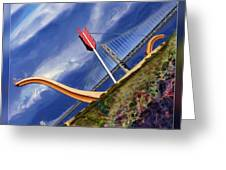 Arrow Through Bay Bridge Greeting Card