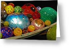 Art Glass Balls In Boat Greeting Card
