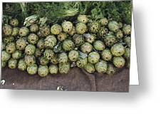 Artichokes And Greens Arranged Greeting Card