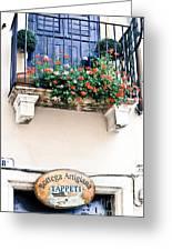 Artisan's Balcony Greeting Card by Gordon Wood