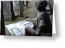 Artist At Ankor Wat Greeting Card