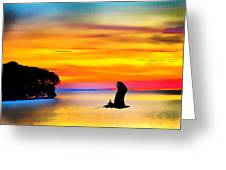 Artistic Conception Eagle Sundown Greeting Card