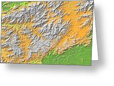 Artistic Map Of Southern Appalachia Greeting Card