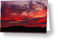 Artistic Sunset Over Hudson River Greeting Card