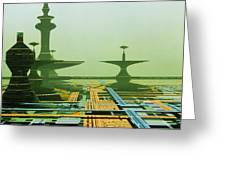 Artwork Of An Alien City On A Circuit Board Greeting Card