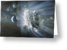 Artwork Of Comet Approaching Earth Greeting Card