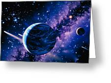 Artwork Of Comets Passing The Earth Greeting Card by Joe Tucciarone
