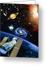 Artwork Of Hubble Space Telescope Over Earth Greeting Card