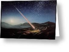 Artwork Of Meteorite Hitting The Ground Greeting Card